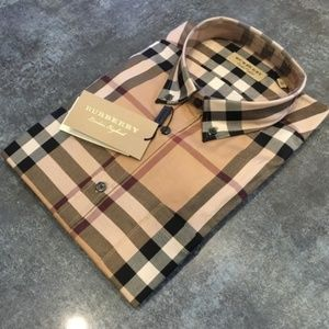 BURBERRY LONDON CAMEL MEN SHIRT NEW WITH TAGS